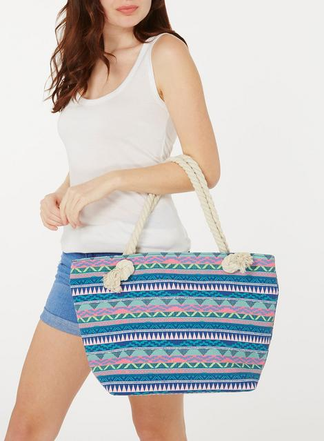 Multicolored Geo Print Tote Bag