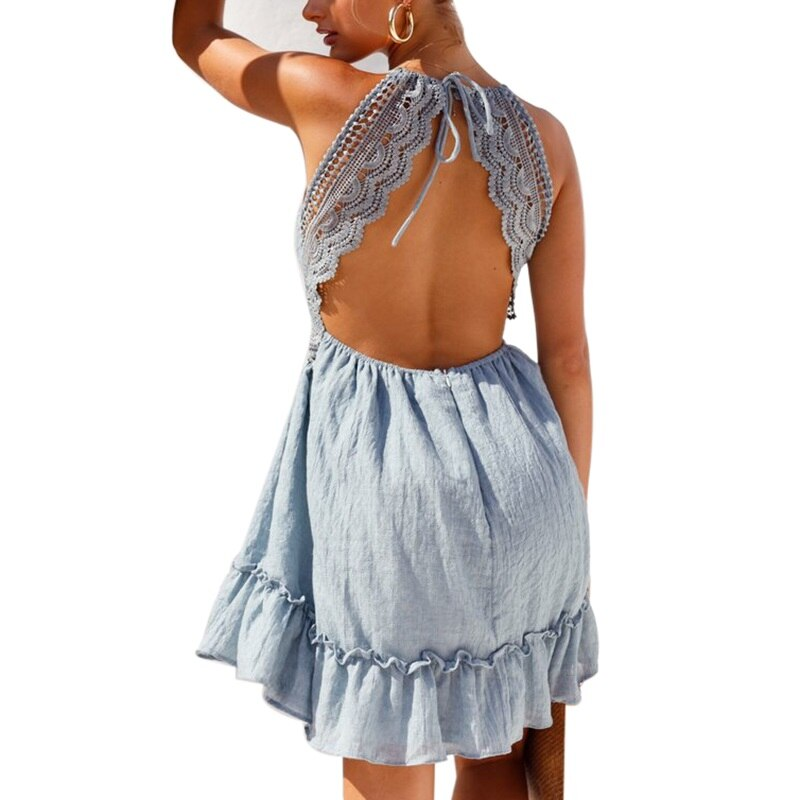 Lace Detail Backless Sundress