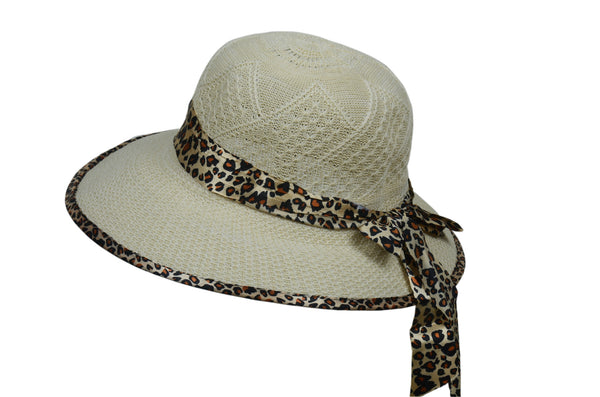 Leopard Band Beach Hat - Beige
