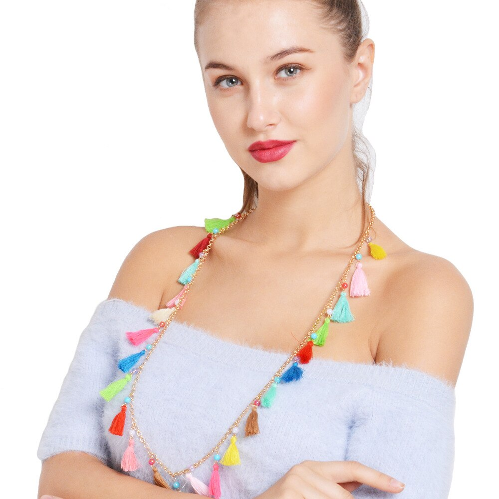 Cotton Tassel Long Colorful Bead Necklace