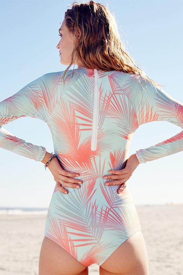 Palm Print Long Sleeve Swimsuit