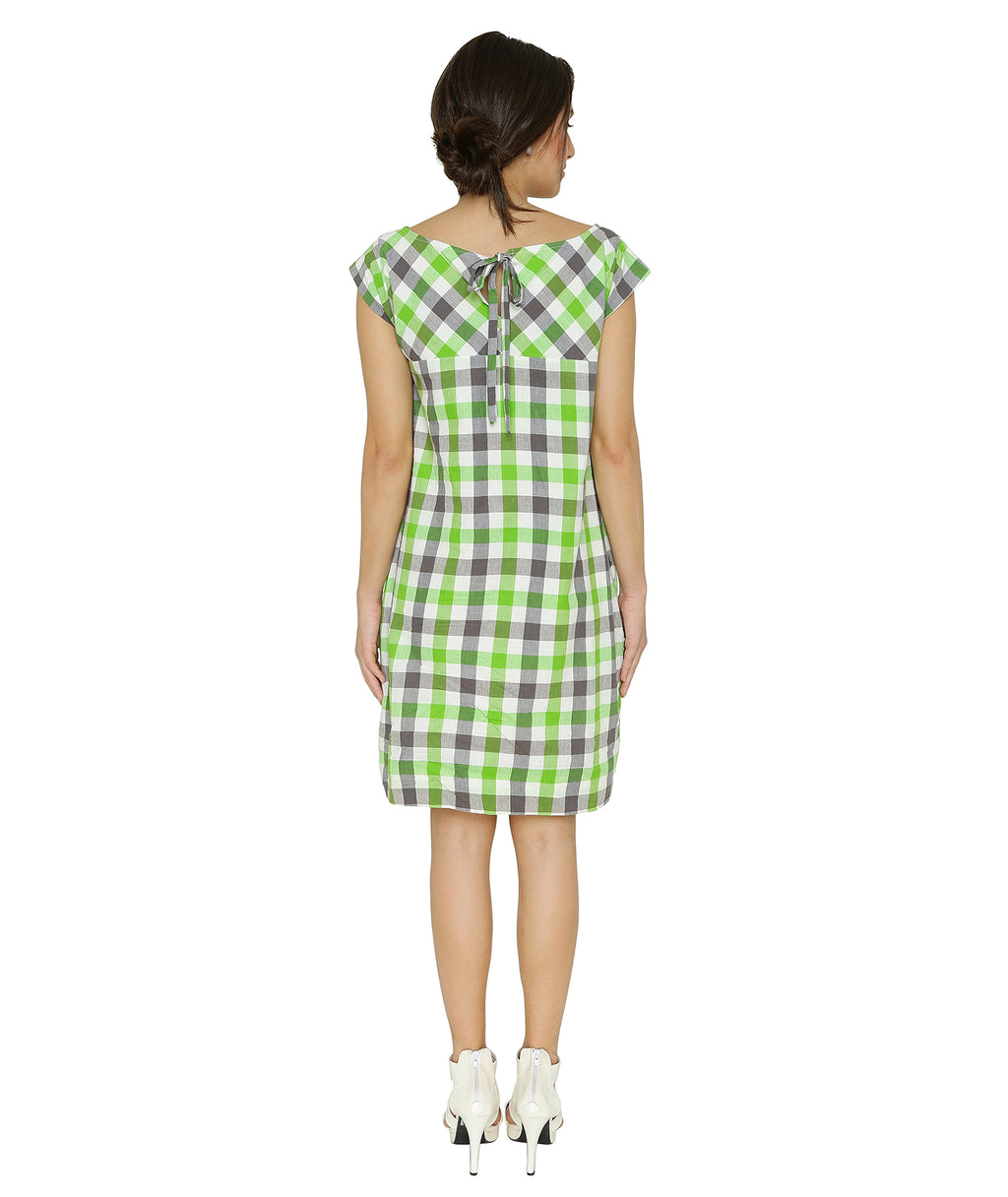 Grey Green Gingham Dress