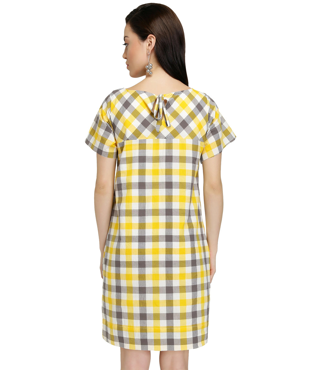 Grey Yellow Gingham Dress