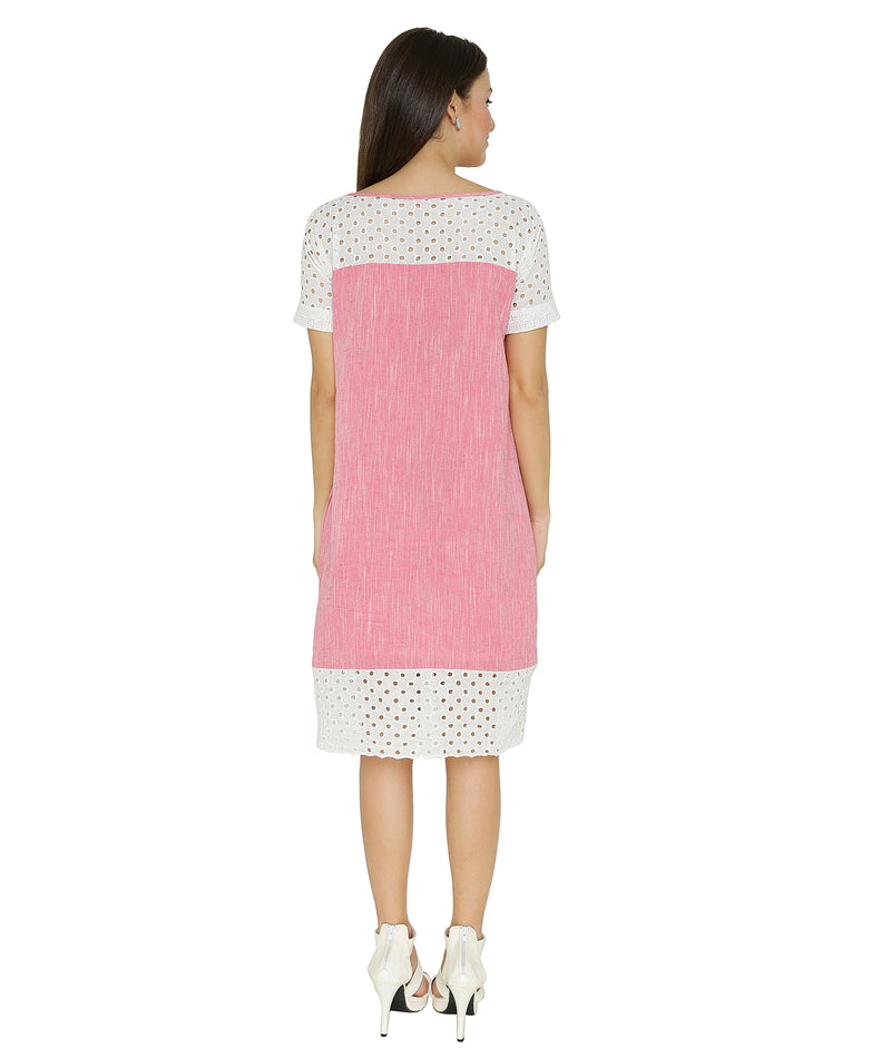 Pink Ikat Broderie Anglaise Dress
