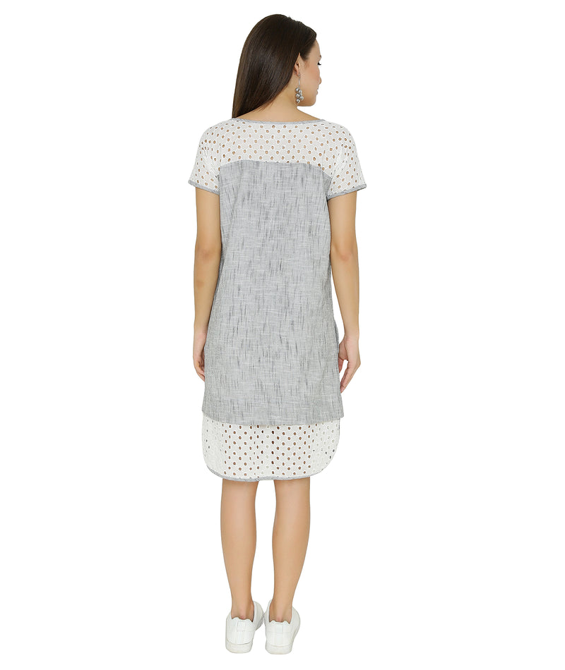 Grey Handloom Broderie Anglaise Dress