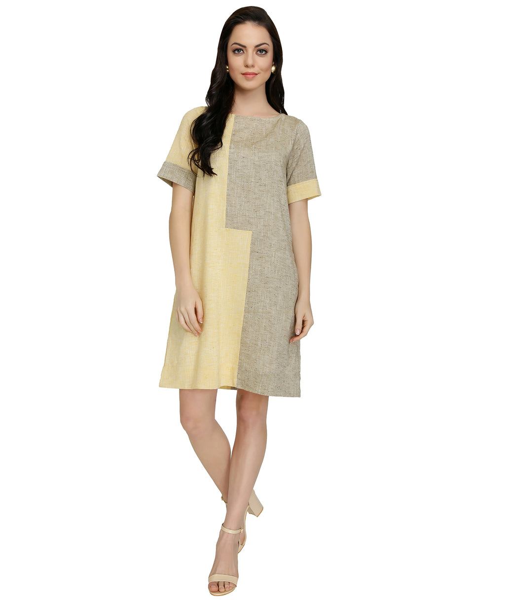 Yellow-Beige Wiggle Colour Block Dress