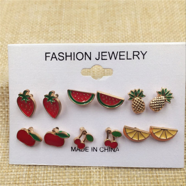 Fruit Stud Earrings Set