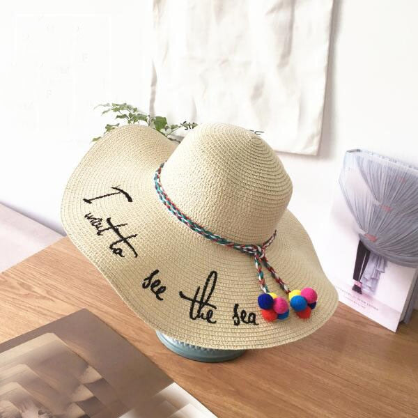 """I want to see the sea"" Pom Pom Hat"