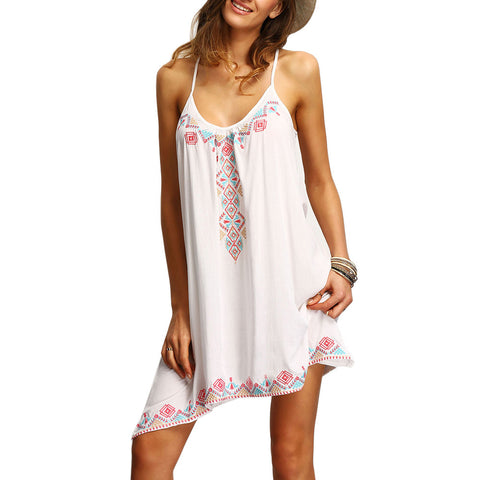 Strappy printed Beach Dress - White