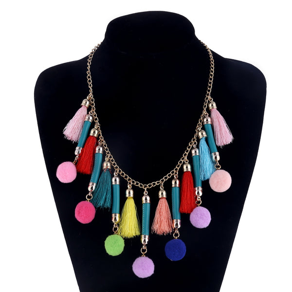 Boho Style Colorful Tassel Necklace