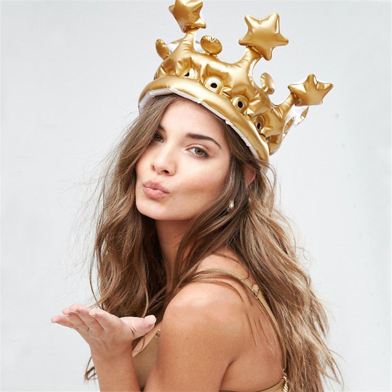 Golden Inflatable Crown Pool Float