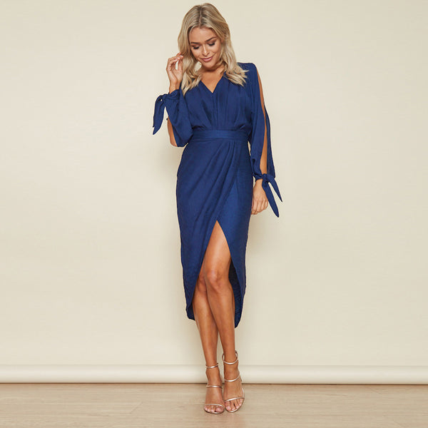 Draped Tulip Resort Dress - Blue