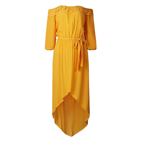 Mustard Slash Neck Ruffle Maxi