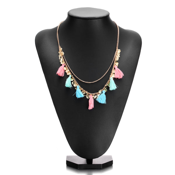 Candy Layered Tassel Necklace Set