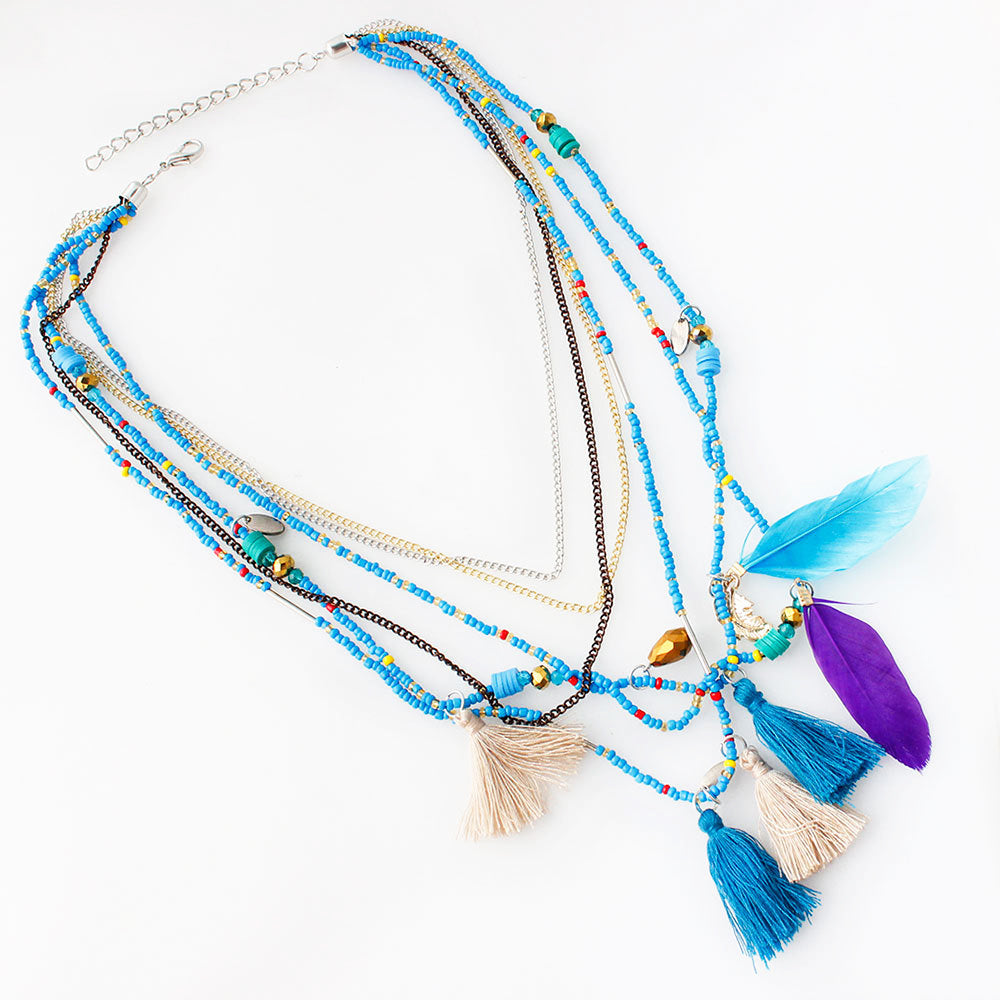 soraya model necklace multilayer rainbow multi ourheartbeads products