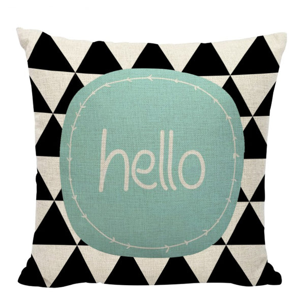 Aztec 'Hello' Cushion Covers (Set Of 2)