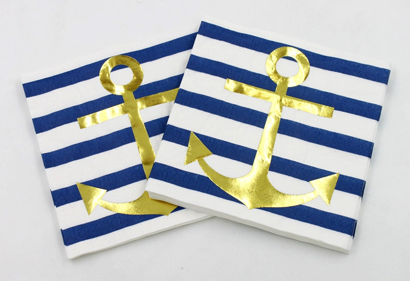 Nautical Gold Anchor Paper Napkins (Pack Of 20)