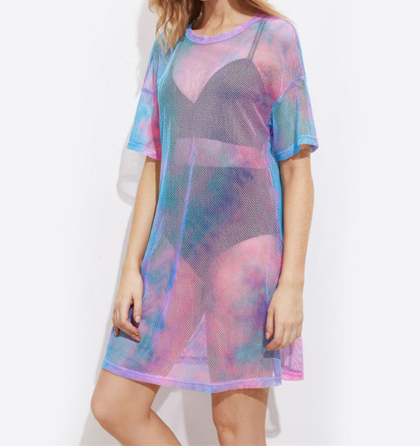 Color Splash Sheer Beach Cover Up