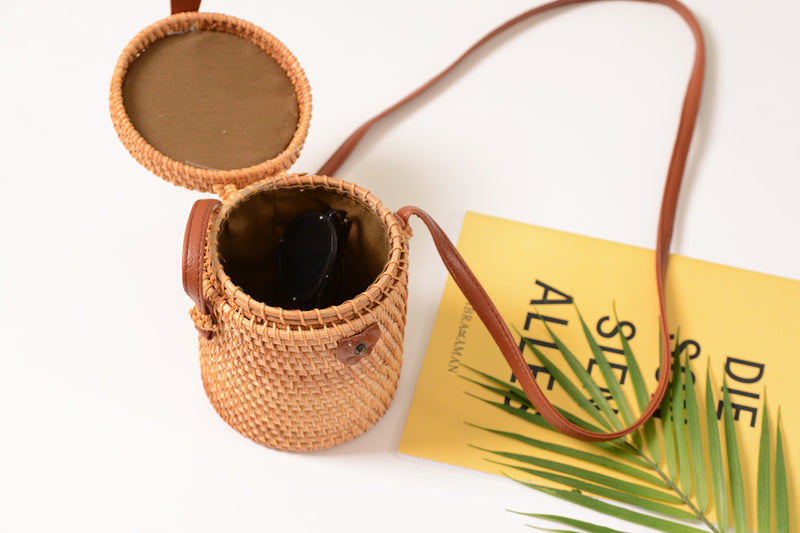 Barrel Shape Rattan Straw Bag