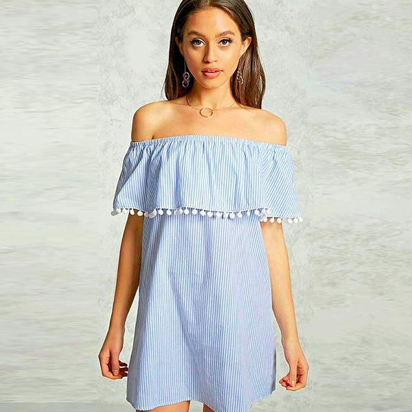 Off Shoulder Pom-Pom Tunic