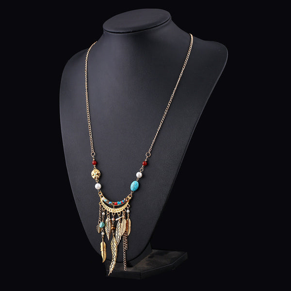 Boho Metal Feather Beads Necklace