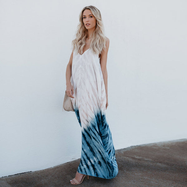 Boho Plunge Neck Beach Dress