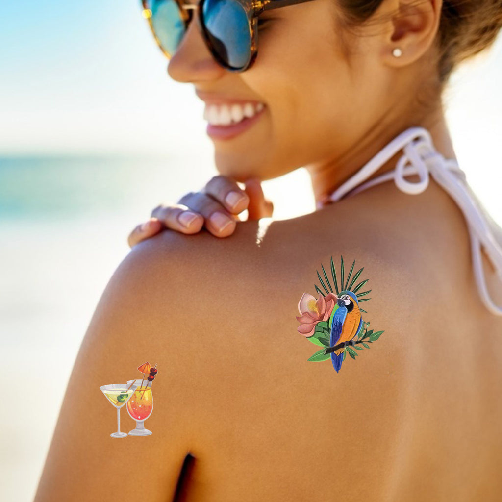 Hawaiian Themed Body Sticker Tattoos (Pack of 4)