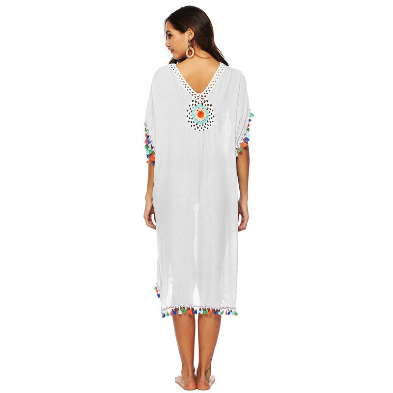 White Rainbow Tassel Cover Up