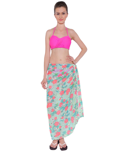 Mint Tropical Pompom Sarong