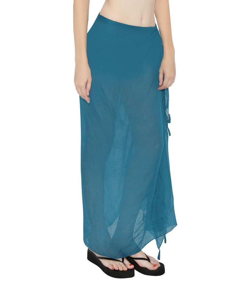 Teal Lace and Tassel Sarong