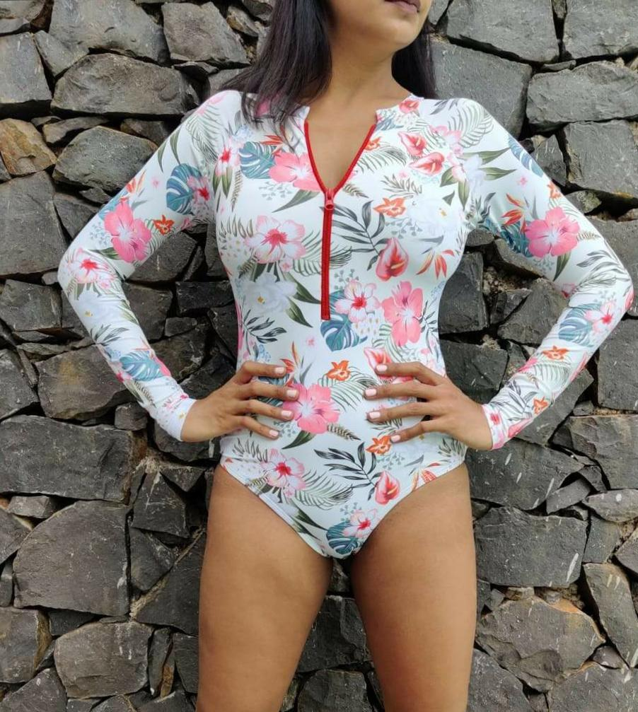 Bouquet Print Long Sleeve Swimsuit