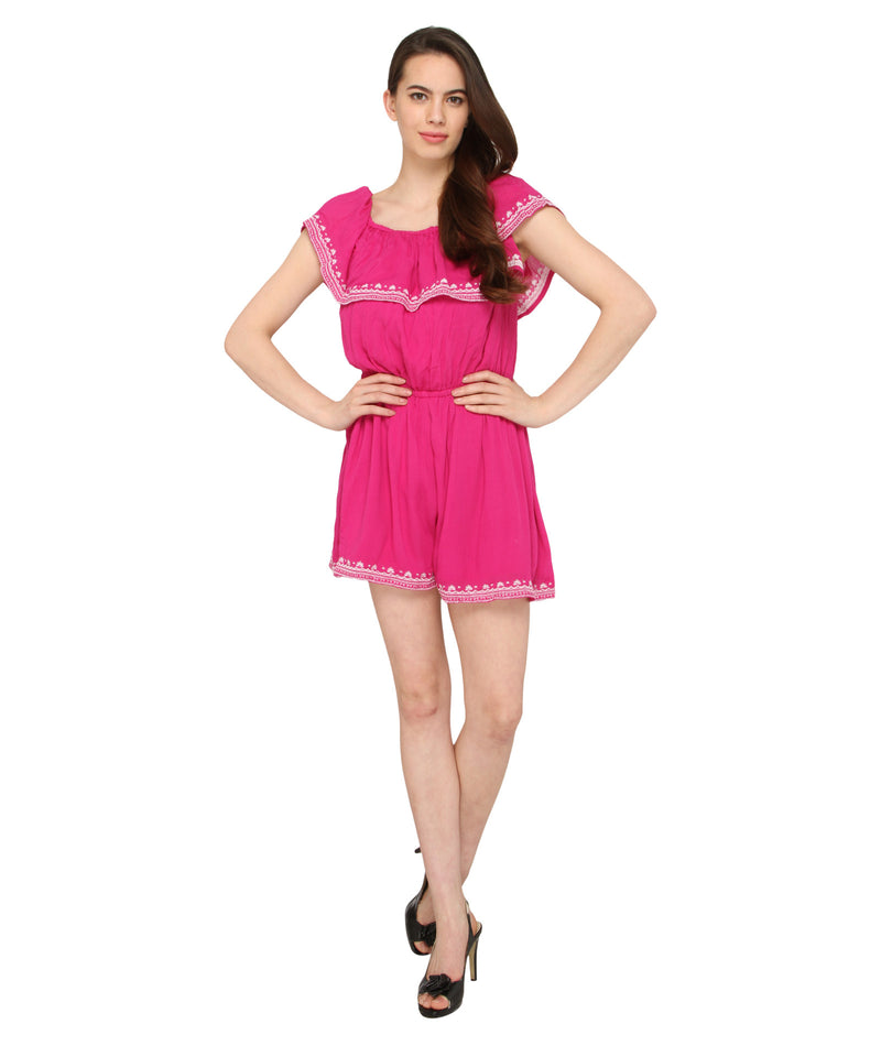 Island Pink Ruffle Playsuit (Only XS)