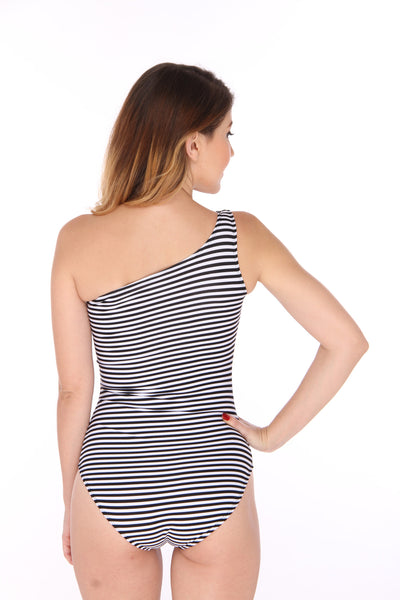 Nautical One Shoulder Swimsuit