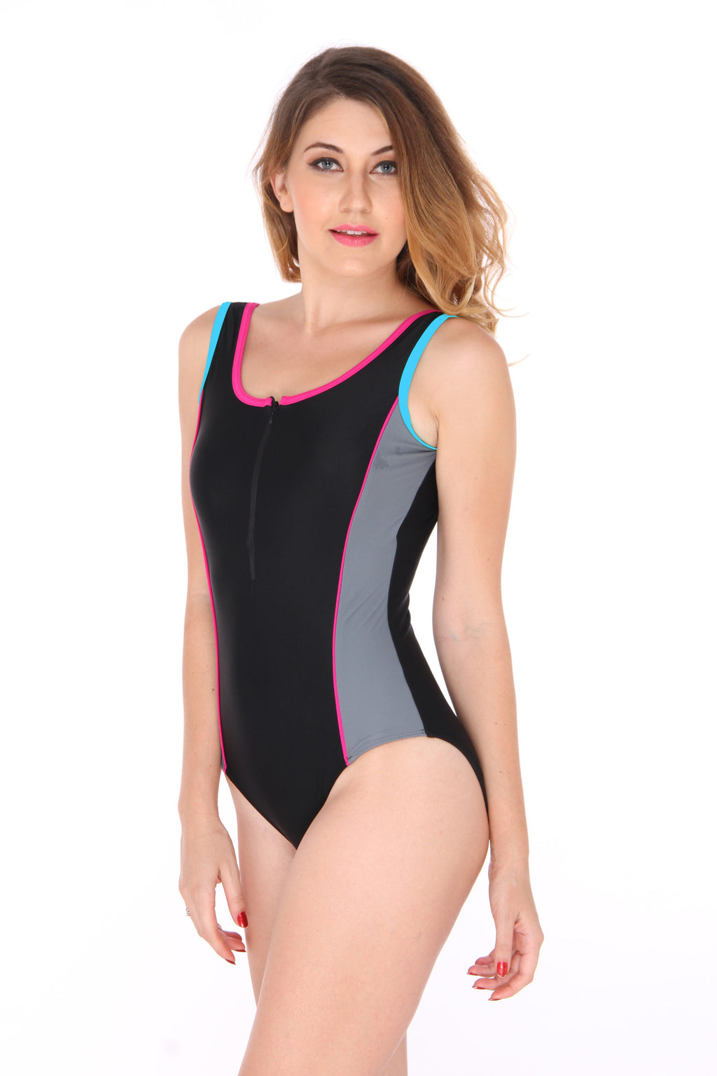 Colorblock Zipper Swimsuit (UK 10 Only)