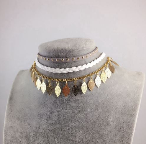 Boho Leaf Pendant Choker Necklace