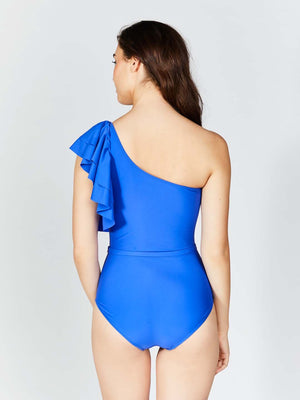 KAI ONE SHOULDER RUFFLE BELTED SWIMSUIT