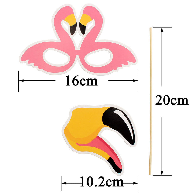 Tropical Flamingo Photo Booth Props (Pack Of 21)