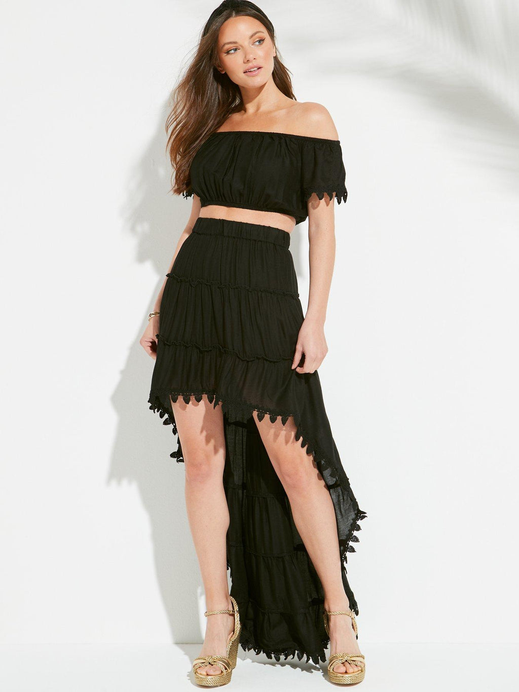 Bardot Top And Drop Hem Ruffle Skirt Co-ord
