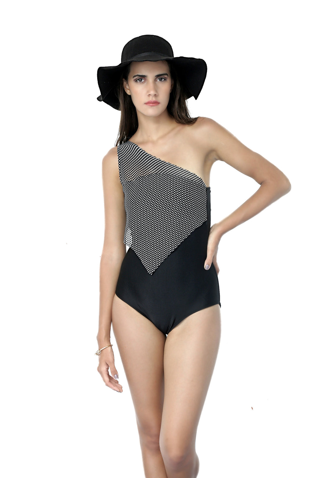 Grey Mesh One Shoulder Swimsuit (Only UK 14)