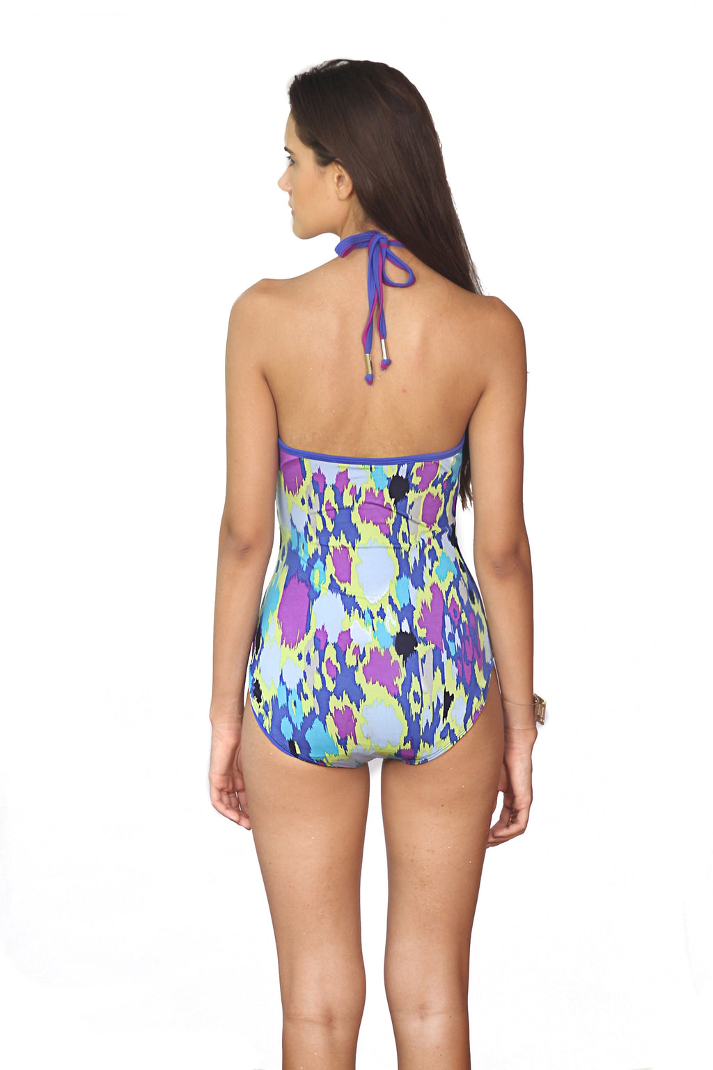 Blue Ikat Printed Swimsuit