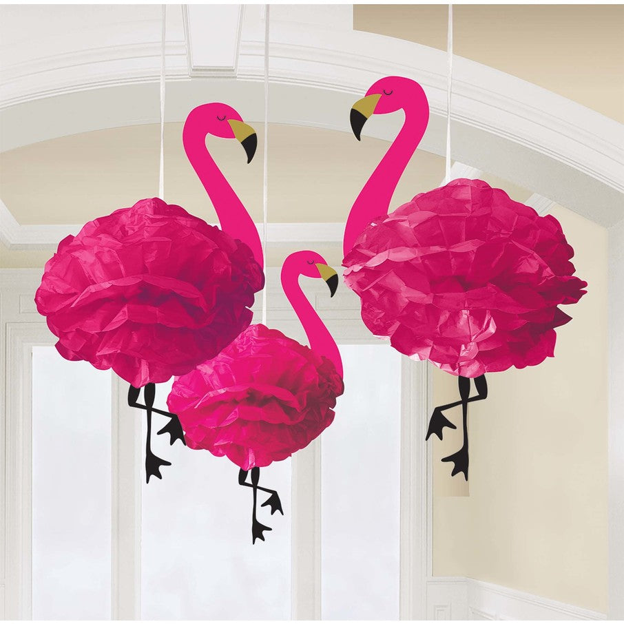 Fluffy Flamingo Hanging Decorations (3-pack)