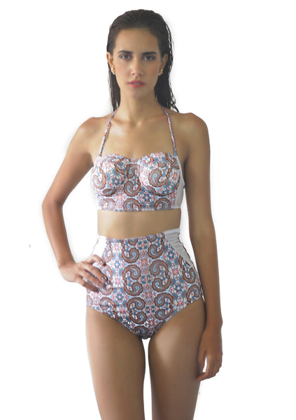 Paisley Print Mesh Bikini Set (Size UK 8 Only)