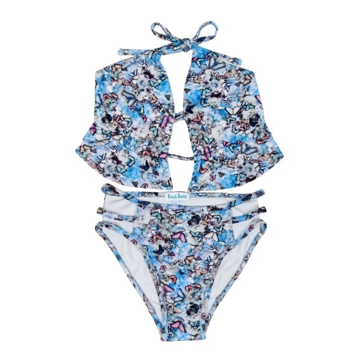 Butterfly Print Two-Piece Bikini Set for Kids
