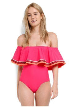 Pink Bardot Embroidered Frill Swimsuit