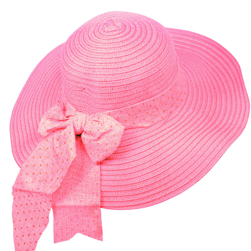 Vintage Bow Beach Hat - Pink
