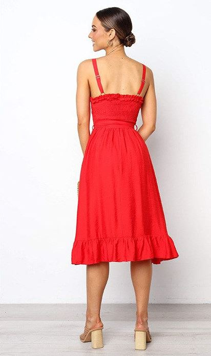 Strappy A-Line Ruffle Dress