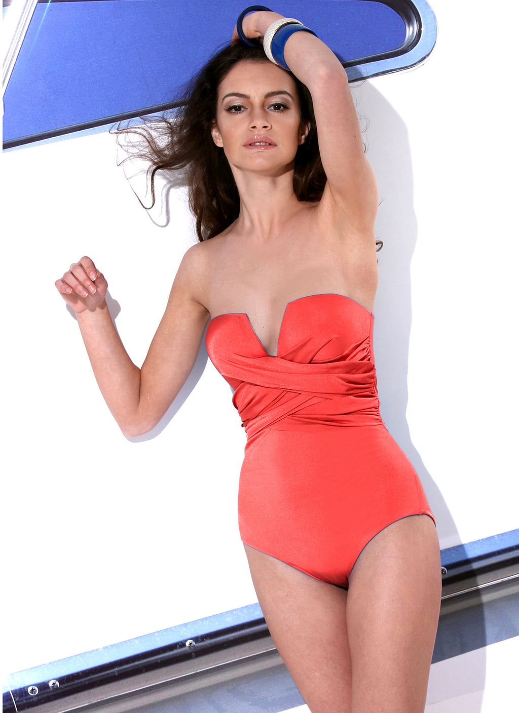 Seductive Over Lapped Swimsuit-Red