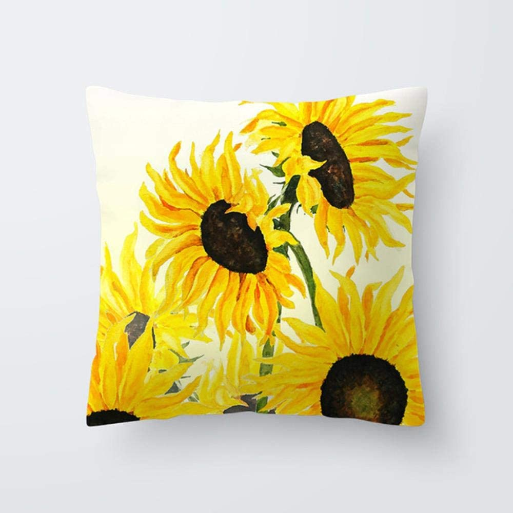 Sunflower Print Cushion Cover