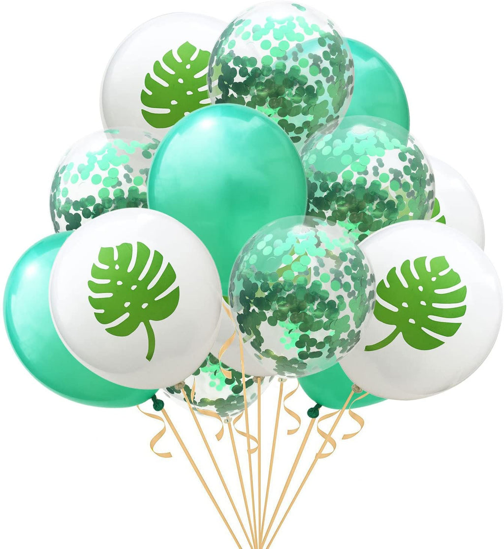 Turtle Leaf Print Confetti Latex Balloons (Pack of 15)