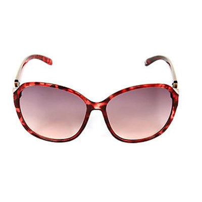 Burgundy Metal Bow Sunglasses